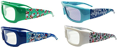 Holiday Specs Plastic 3D GLASSES-4pk- Look through Glasses and see Snowmen, Snowflakes, Santa, and Reindeer Appear before your Eyes