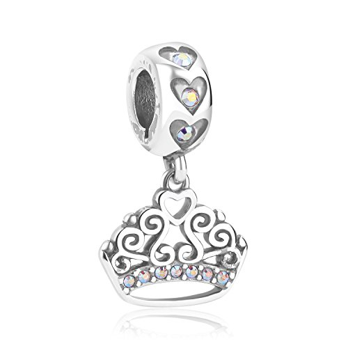 Bella & Beau Dog's Life Charms and Beads (Princess Tiara) Dog Themed Swarovski Crystals Polished Silver Charm Bead Compatible with Bella & Beau Collars Bracelets and Pandora Chamilia Bracelets