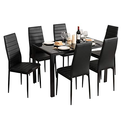Giantex Kitchen Dining Table Set, Glass Tabletop Dining Room Set with Leather Padded 6 Chairs, Rectangular Modern Metal…