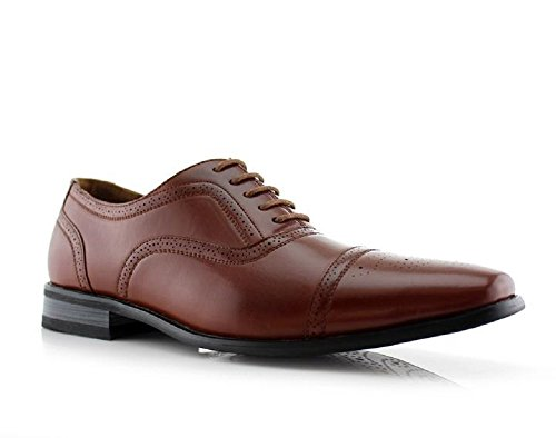 Mens 20117 Cap Toe Semi Brogue Perforerade Oxfords Snörning Finskor Brun