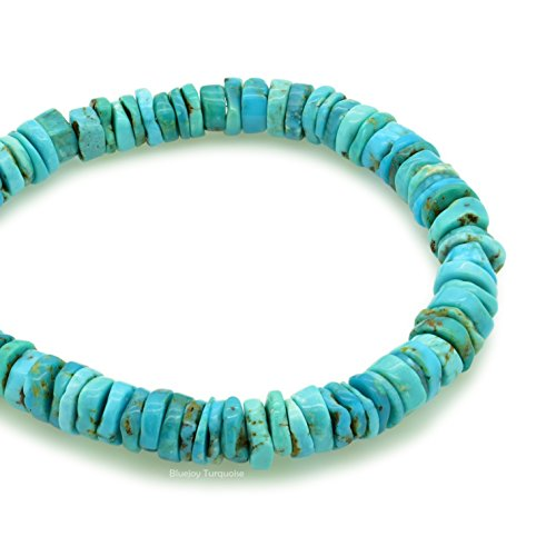 Bluejoy Genuine Natural American Turquoise 7mm Free-Form Disc Bead 16 inch Strand for Jewelry Making - Turquoise Stone Chip Bead Earrings