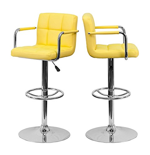Adjustable Stool Express Swivel Height (KLS14 Modern Barstools Hydraulic Adjustable Height 360-Degree Swivel Seat Sturdy Steel Frame Padded Cushion Seat Dining Chair Bar Pub Stool Home Office Furniture - Set of 2 Yellow #1978)