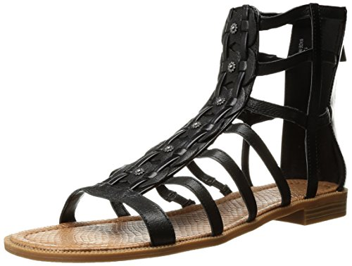 Nine West Women's Xeron Leather Gladiator Sandal, Black, 8.5 M (Nine West Gladiator Sandals)