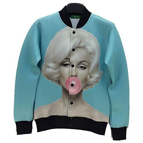Harajuku Jacket 3D Print Marilyn Monroe Blue Long Jacket Clothing Large