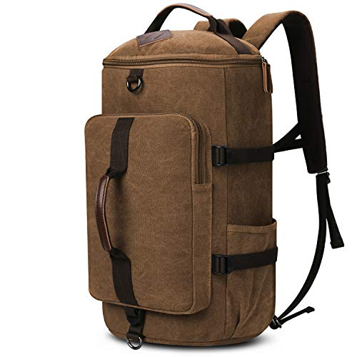 Travel Backpack, Yousu Large Canvas Backpack Vintage Travel Duffel Bags Classic Casual Daypack Duffle Bookbag for Men 3-In-1 - Bag Cylinder