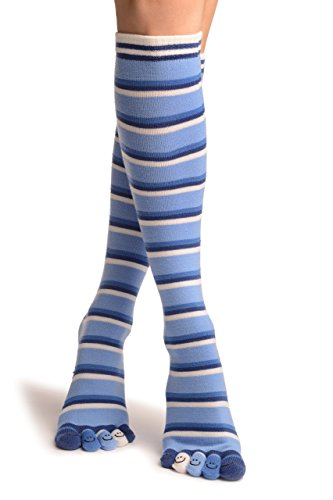 Blue & Dark Blue Stripes & Printed Smiles Knee High Toe Socks - Toe Socks