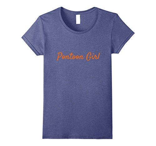 Womens Pontoon Girl Boat Boating Pontooning Lake Life T shirt XL Heather Blue (Lake Girl)