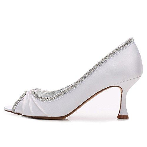 Heel Zapatos Satin de Encaje L de Boda Blue Peep de Mujeres Toe Las YC Costura de Diamantes vqUBzqwx5