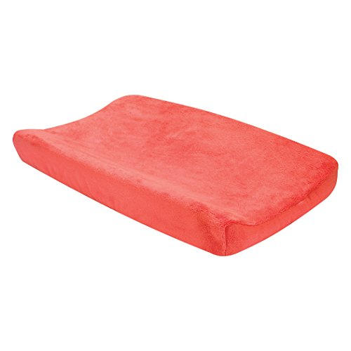 Trend Lab Porcelain Rose Coral Plush Changing Pad Cover, Coral by Trend Lab