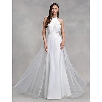kekafu Una línea cabestro Longitud Piso Chiffon de tul vestido de novia con sábanas por LAN
