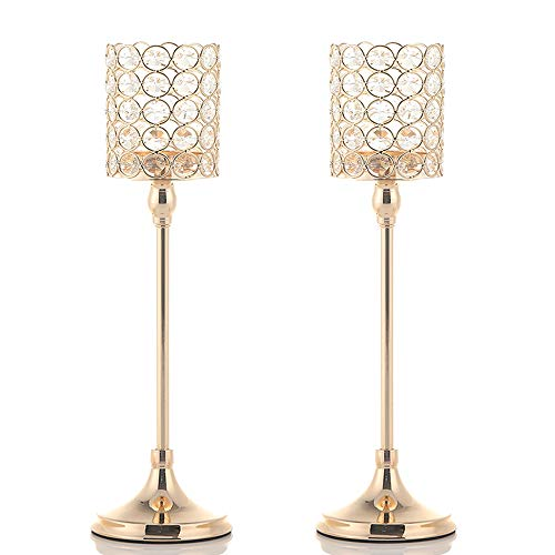VINCIGANT Votive Crystal Candle Holders/Candle Lanterns for Mother's Day Home Office Decor Wedding Coffee Table Decorative Centerpiece,2PCS 16 Inches Tall Gold ()