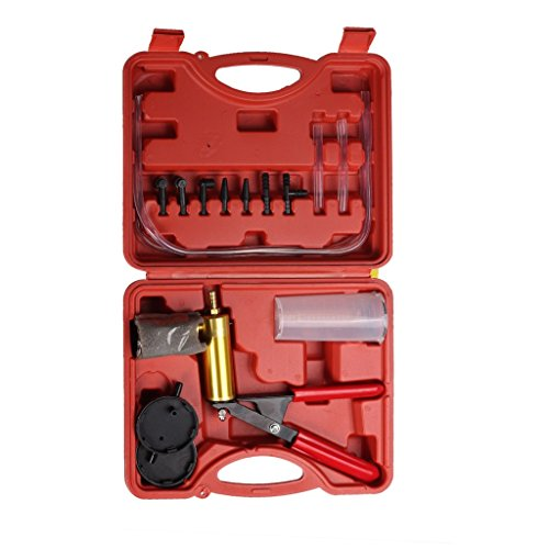 Bleeder Vacuum (HTOMT Brake Bleeder Kit Hand Held Vacuum Pump Tester Set Vacuum Gauge with Hoses Connector for Automotive)