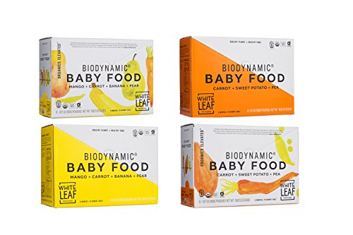 White Leaf Provisions' Biodynamic Organic Baby Food Variety Pack – Carrot + Sweet Potato + Pea AND Mango + Carrot + Banana + Pear – Unsweetened Baby Food – For Babies and Toddlers – 24 (90g) pouches