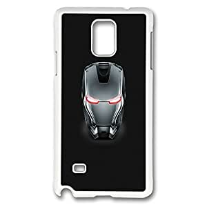 Galaxy Note 4 Case, Creativity Design Iron Man Gray Steel Helmet Creativity Print Pattern Perfection Case [Anti-Slip Feature] [Perfect Slim Fit] Plastic Case Hard White Covers for Samsung Galaxy Note 4