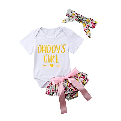 e859a2fc 3PCS Baby Girls Worth The Wait/Daddy's Girl Print Outfit Clothes Romper  Bodysuit Pants Headband