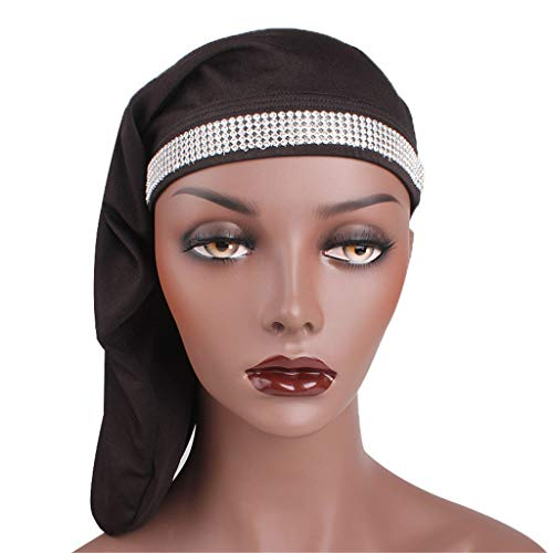 (Sunshinehomely Women Fashion Long Hair Care Bonnet Cap Night Sleep Hat Silk Cap Head Wrap (Black))