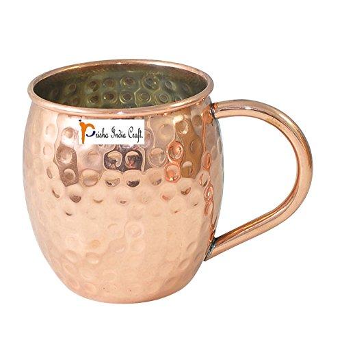 Conjunto de 12 - artesanía india Prisha ® Barril cobre Mug para Moscú mulas 520 ml/17 oz dentro de níquel cobre exterior...