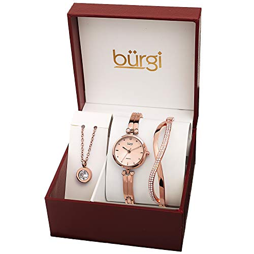 Burgi Women's Jewelry Gift Set – Half Bangle Diamond Watch, Swarovski Crystal Pendant Necklace and Bracelet – Rose Gold Flash Plated - BUR212RG-S