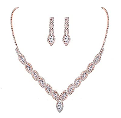 YSOUL Sparkling CZ Rhinestone Necklace Earrings Jewelry Set for Bridal Bridesmaid Wedding Evening Party Prom