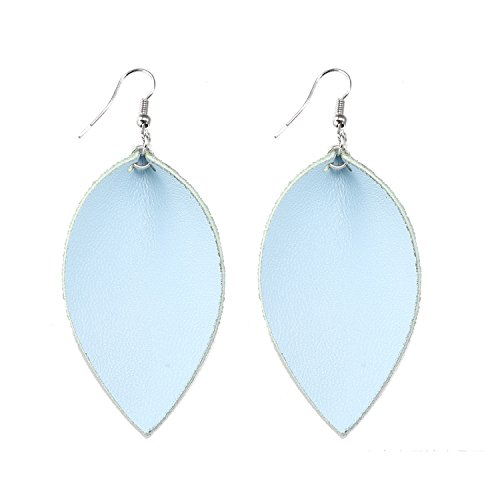 TIDOO Jewelry Women Leaf Leather Dangle Earrings (10# Light Blue)