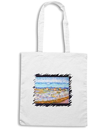 T-Shirtshock - Bolsa para la compra TDA0072 van gogh24 pianura della crau con peschi in fiore Blanco