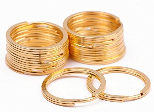 Shapenty 24mm/0.94 Inch Metal Flat Split Key Chain Rings Clip Connector Keychain Part Keyring Holder for Home Car Keys Organization (Gold, 14PCS)
