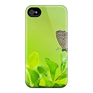 Hot Tpye Butterfly On The Leafe Case Cover For Iphone 4/4s