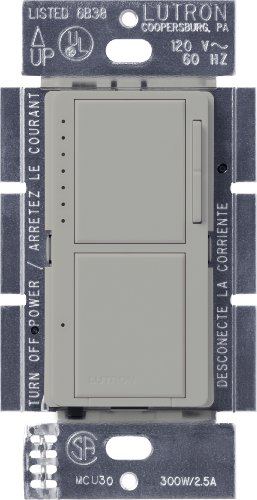 Lutron MA-L3S25-GR Maestro 300-Watt Single-Pole Digital Dimmer and 2.5 Amp On/Off Switch, Gray