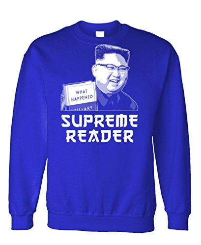 Supreme Reader - North Korea Kim Jong un - Fleece Sweatshirt, M, Royal