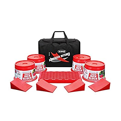 Andersen Hitches Trailer Jack Block Bag | 3608 x 4 | Includes 4 Trailer Jack Blocks, 4 Tuff Chocks, and 1 Clean Step in a Sturdy Carry Bag | Camper, RV, Trailer Jack Blocks | Includes Bumper Stickers: Automotive