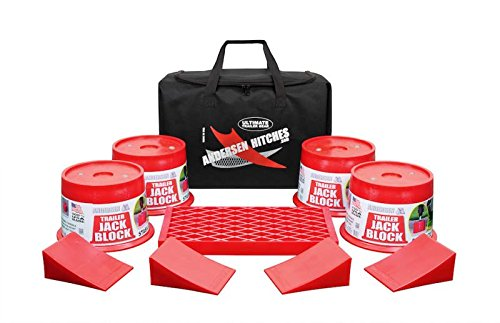 Andersen Hitches Trailer Jack Block Bag | 3608 x 4 | Includes 4 Trailer Jack Blocks, 4 Tuff Chocks 1 Clean Step in a Sturdy Carry Bag | Camper, RV, Trailer Jack Blocks | Includes Bumper Stickers