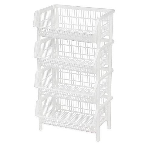 IRIS Jumbo Stacking Basket in White (Set of 4)