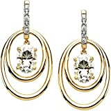 2 Cttw Charles and Clovard 14k Yellow Gold Oval Moissanite and Diamond Double Hoop Earrings