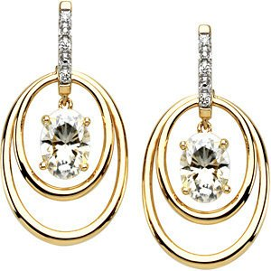 2 Cttw Charles and Clovard 14k Yellow Gold Oval Moissanite and Diamond Double Hoop Earrings by The Men's Jewelry Store