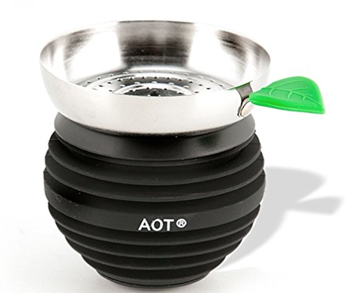 Apple on Top Hookah Shisha Bowl - Includes a TSC Sticker (Black on Black)