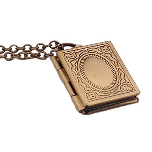 (ODETOJOY Antique Bronze Book Locket Necklace Charms Vintage Photo Frame Pendants)