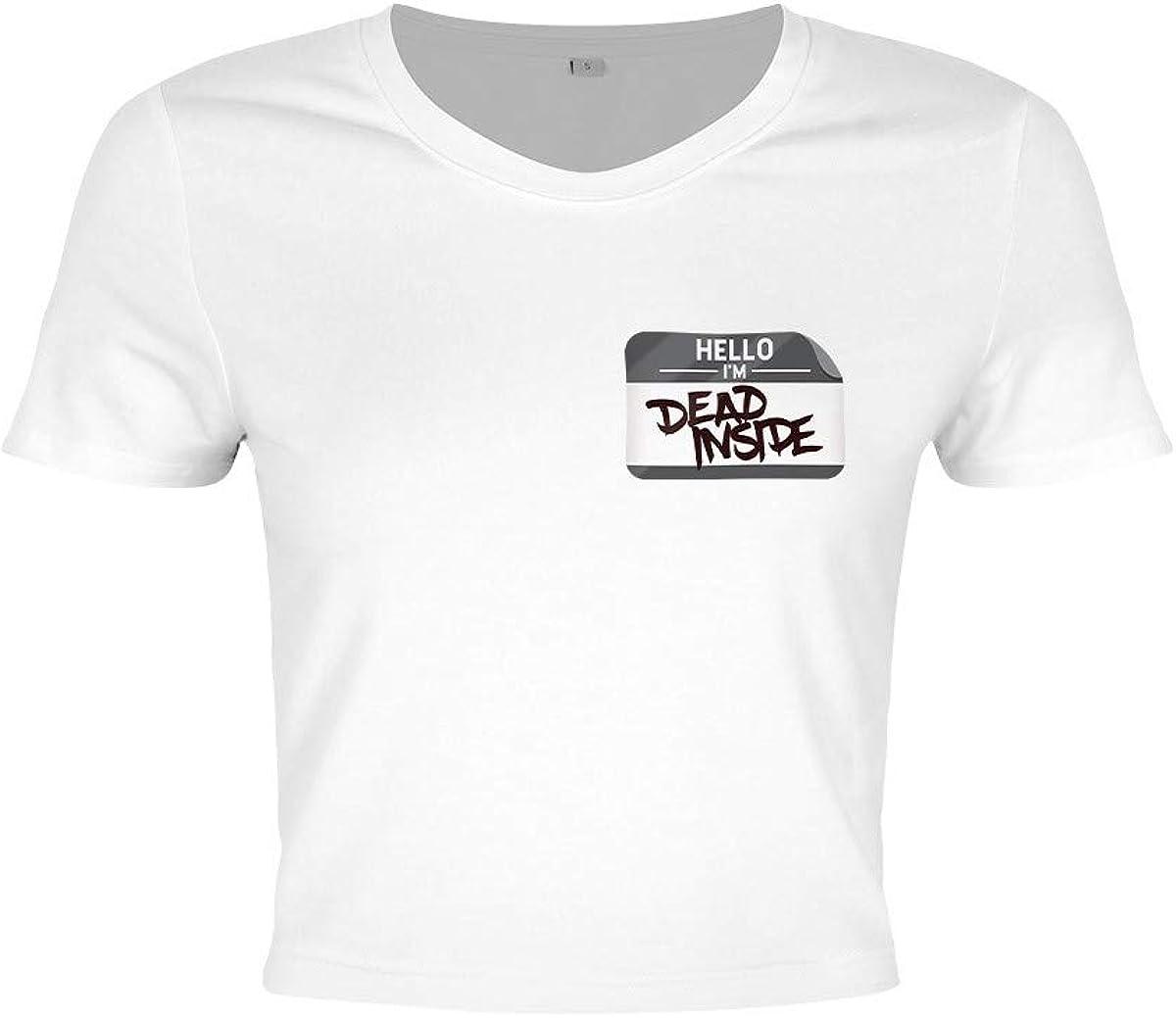 Camiseta Hello Im Dead Inside Crop Top de Mujer en Blanco Blanco 34/36 ES/S: Amazon.es: Ropa y accesorios