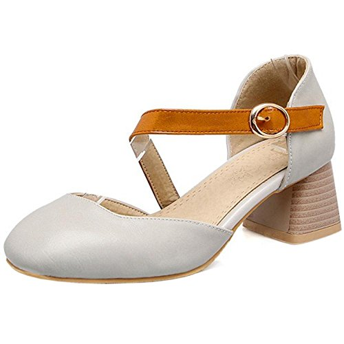 Heel Chunky Ankle Gray Strap Women's Shoes Court TAOFFEN ABqcnRWvc