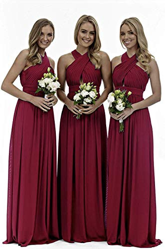 Halter Chiffon Bridesmaid Dresses Long Ruched A-Line Evening Party Gowns for Women 2019 Wine Red 12