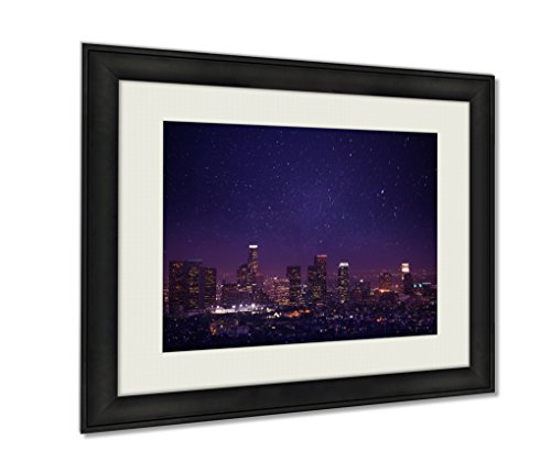 Ashley Framed Prints, Beautiful Night Cityscape View Of Los Angeles Us, Black, 24x30 - Night Enlightened Art Lights