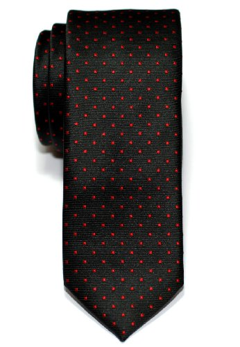 Retreez Pin Dots Woven Microfiber Skinny Tie - Black with Red Pin Dots