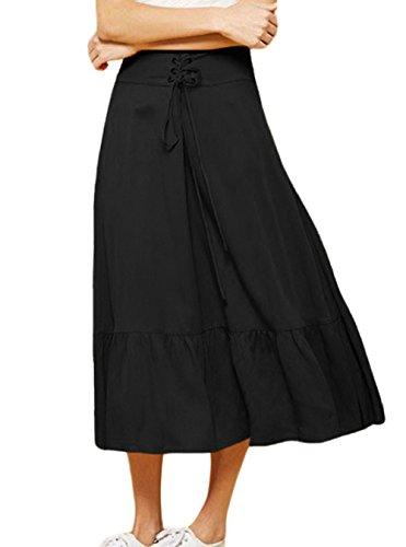 Jupe Soire Midi t Plisse Jupes de Jupe Bal Bandage Ajoure Plage Mode de Noir Fte avec Femmes Pretty Elegante qaqxp8