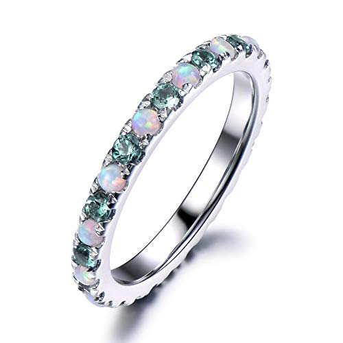 (Color Change Lab Created Alexandrite Opal Wedding Band Ring Solid 14k White Gold Full Eternity Matching )
