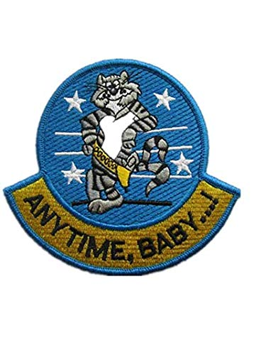 Anytime, Baby.! F-14 Tomcat Fighter Military Hook Loop Tactics Morale Embroidered Patch ()