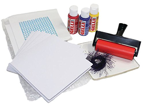 Gelli Arts Card Printing All in One DIY Craft Set with Gel Printing Plate, Premium Acrylic Paint, Roller, Paper, Design Elements, Storage Container- Create Unique Personalized Cards, Easy Clean Up