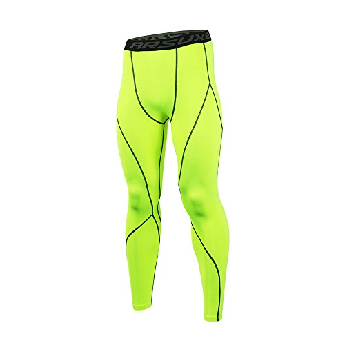 (ARSUXEO Men's Compression Tights Running Pants Baselayer Legging K3 Green Size)