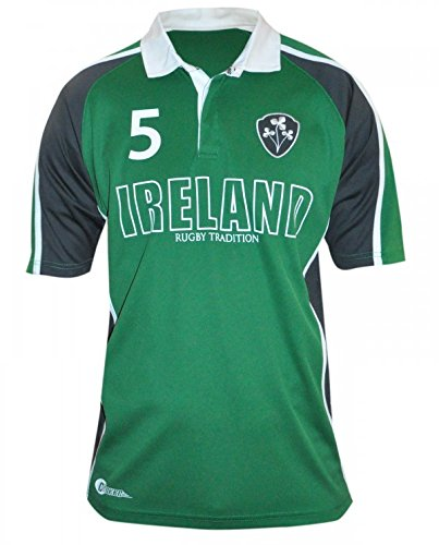 Embroidered Print Rugby (CROKER Green Panelled Ireland Rugby Jersey Small)