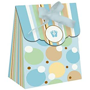 Tiny toes blue baby shower party favor mini for Baby shower decoration packs
