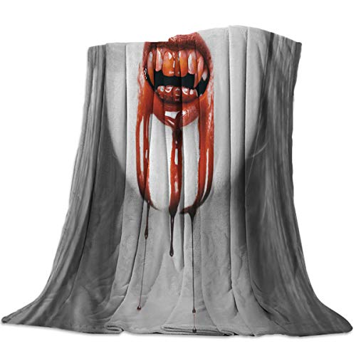 (wanxinfu Decorative Throw Blanket for Living Roome/Office/Bedroom Luxury Warm Soft Cozy Flannel Microfiber Lightweight Blanket for All Season Female Vampire Halloween Element 59