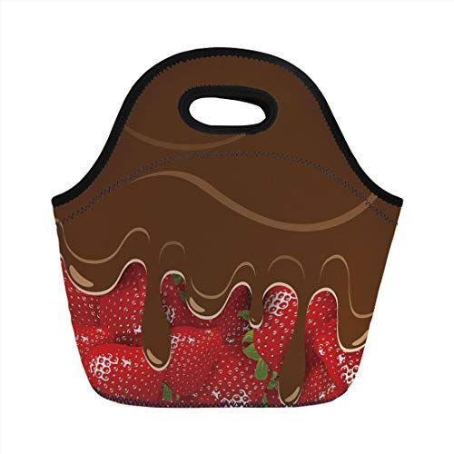 Lunch Bag Portable Bento,Kitchen Art Wall Decor,Strawberries Melted Chocolate Confectionery Fruit Sweet Delicacies,Brown Red,for Kids Adult Thermal Insulated Tote Bags ()